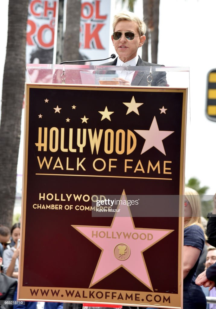 Ellen DeGeneres speaks at the ceremony honoring NSYNC with a star on the Hollywood Walk of Fame on April 30, 2018 in Hollywood, California.