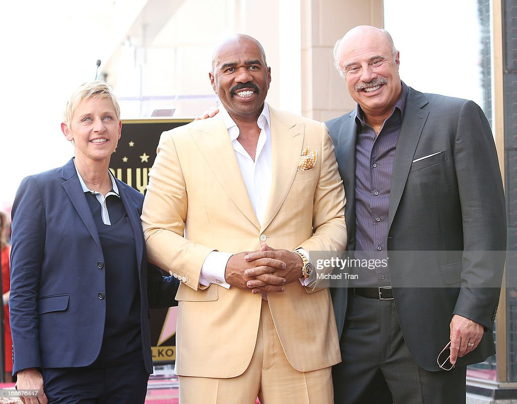 Ellen DeGeneres, Steve Harvey and Dr. Phil McGraw attend the ceremony honoring Steve Harvey with a Star on The Hollywood Walk of Fame held on May 13, 2013 in Hollywood, California.