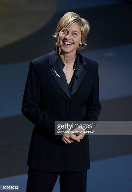 Ellen DeGeneres wearing a threestone diamond necklace by Roberto Coin hosts the 53rd Annual Primetime Emmy Awards