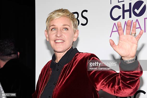 Ellen Degeneres, winner of mulitple awards, poses in the press room during the People's Choice Awards 2017 at Microsoft Theater on January 18, 2017...