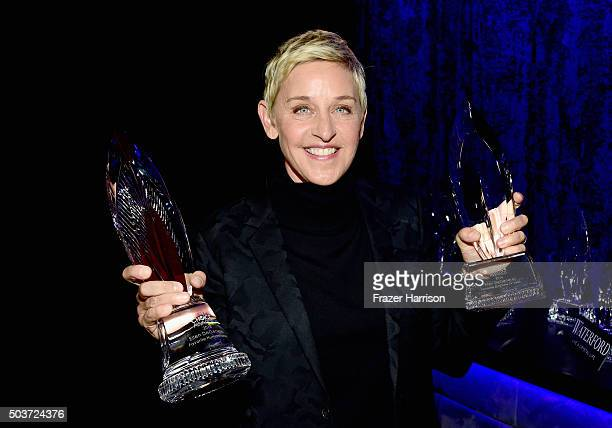 Ellen DeGeneres winner of the award for Favorite Humanitarian attends the People's Choice Awards 2016 at Microsoft Theater on January 6 2016 in Los...