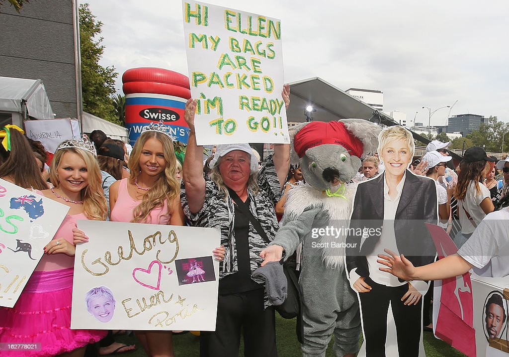 Ellen fans gather at Crown Riverwalk on February 27, 2013 in Melbourne, Australia. Ellen Degeneres tweeted for fans to gather outside Crown today to 'win something really big', as the American television star prepares for to tape her show in Australia in March.