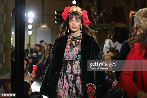 Ellen Gibson walks the Dolce Gabbana Italian Christmas catwalk show at Harrods on November 2 2017 in London England