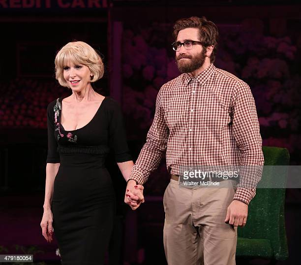 Ellen Greene and Jake Gyllenhaal during the opening night curtain call for the New York City Center Encores OffCenter production of Little Shop of...