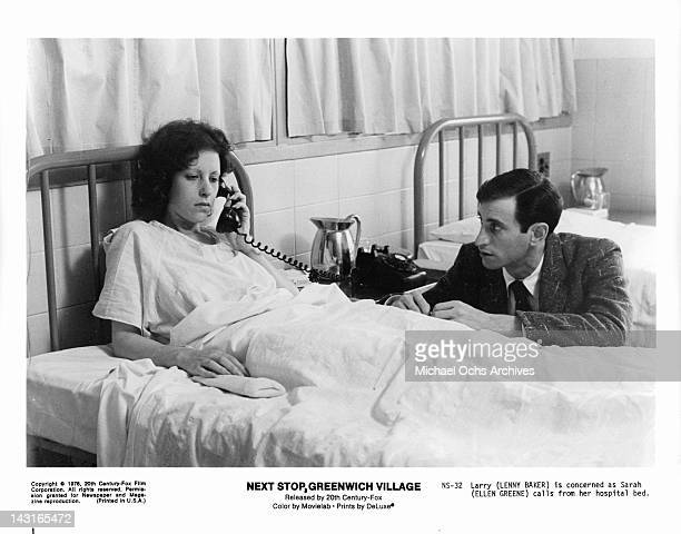 Ellen Greene on phone in hospital bed with Lenny Baker at her side in a scene from the film 'Next Stop Greenwich Village' 1976