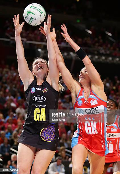 Ellen Halpenny of the Magic competes with Sharni Layton of the Swifts during the ANZ Championship Minor Semi Final match between the Sydney Swifts...