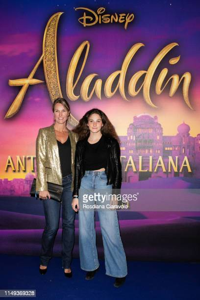 Ellen Hidding and Anne Marie cozzi attend the Aladdin photocall and red carpet at The Space Cinema Odeon on May 15 2019 in Milan Italy