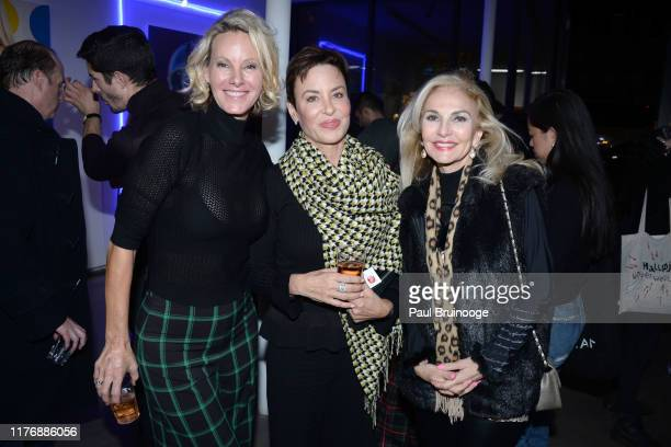 Ellen Houx Pamela Wolf and Pamela Wright attend Delusions of the Wild Solo Exhibition By Alexandra Houx Grounds at 213 Bowery on October 17 2019 in...