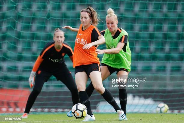 Ellen Jansen of Holland Women, Danique Kerkdijk of Holland Women during the Training Holland Women in Estonia at the Lillekula Stadium on August 29,...