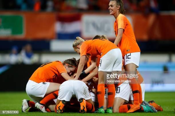 Ellen Jansen of Holland Women Kelly Zeeman of Holland Women Jill Roord of Holland Women celebrates the victory during the World Cup Qualifier Women...