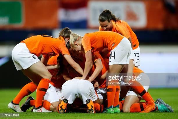 Ellen Jansen of Holland Women Kelly Zeeman of Holland Women Renate Jansen of Holland Women celebrates the victory Jackie Groenen of Holland Women...
