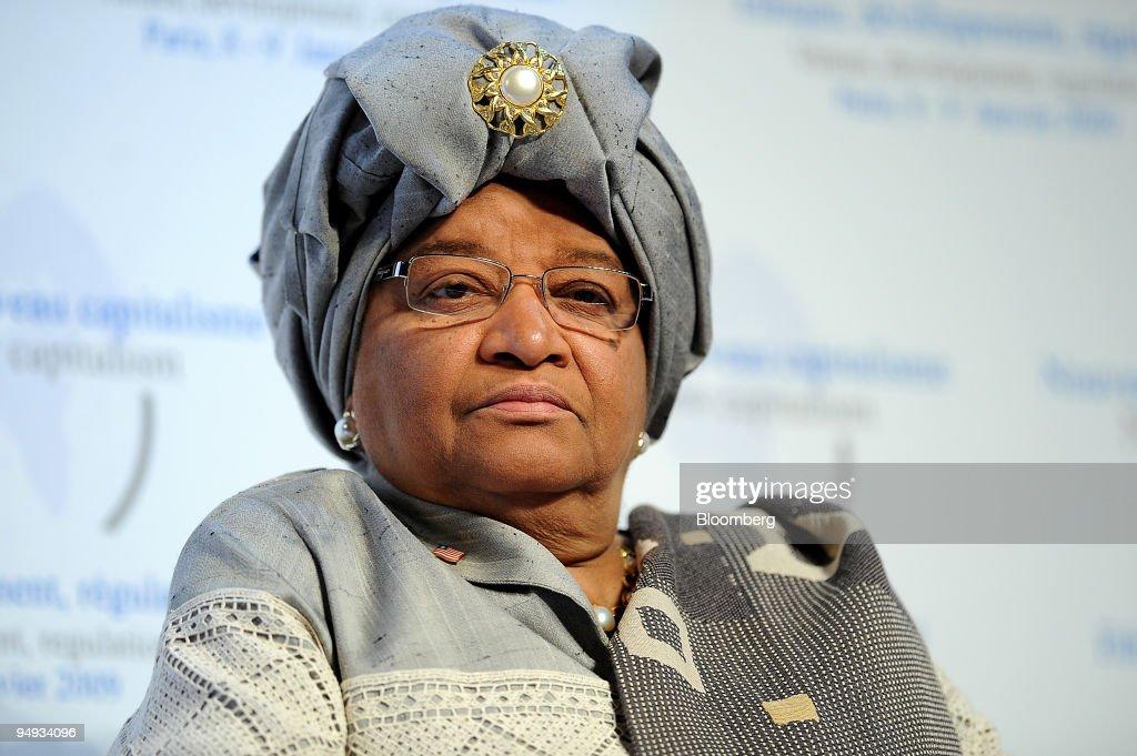 Ellen Johnson Sirleaf, Liberia's president, listens at the : News Photo