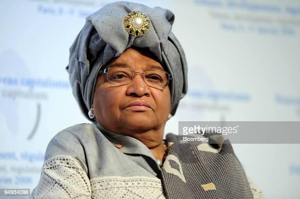 Ellen Johnson Sirleaf Liberia's president listens at the