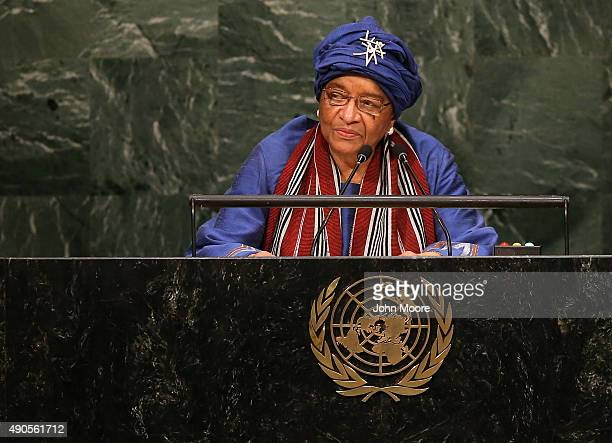 Ellen JohnsonSirleaf President of Liberia addresses the General Assembly of the United Nations at the UN headquarters on September 29 2015 in New...