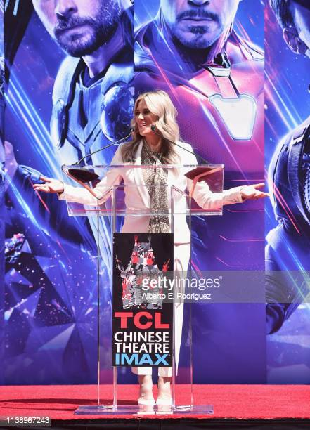 Ellen K speaks at Marvel Studios' 'Avengers Endgame' Hand And Footprint Ceremony at the TCL Chinese Theatre on April 23 2019 in Hollywood California