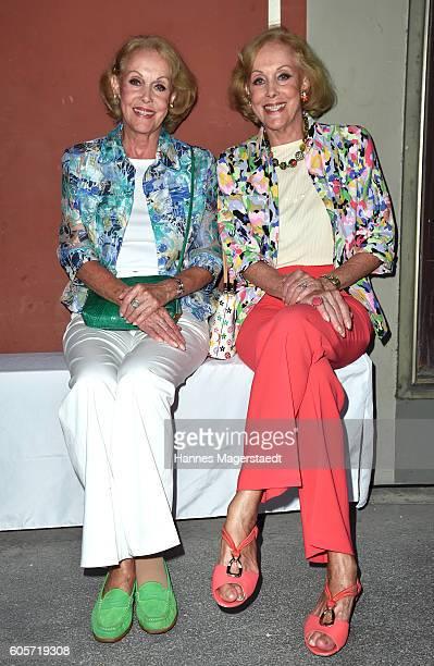 Ellen Kessler and Alice Kessler during a cocktail reception hosted by the Dorotheum on September 14 2016 in Munich Germany