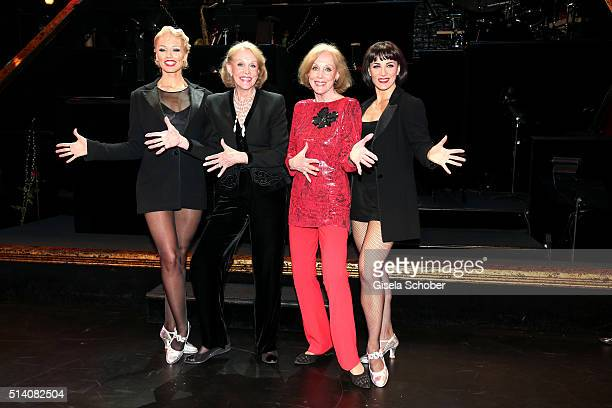 Ellen Kessler and her twin sister Alice Kessler during the premiere of the musical 'Chicago' at Deutsches Theatre on March 6 2016 in Munich Germany