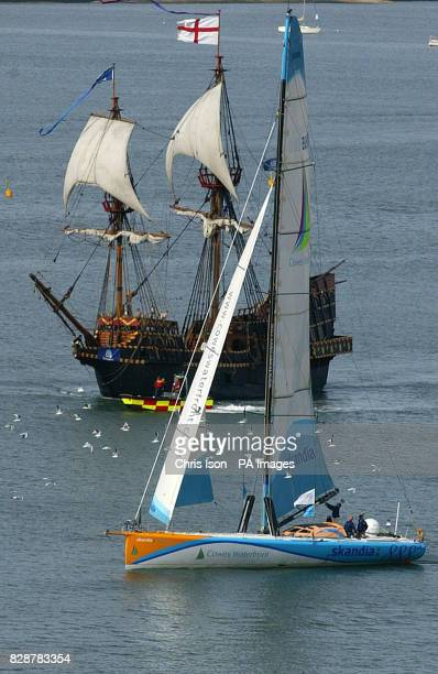 Ellen MacArthur's yacht Kingfisher and the replica of the Golden Hinde sail into the Southampton Boat Show in the city The yachting spectacular...