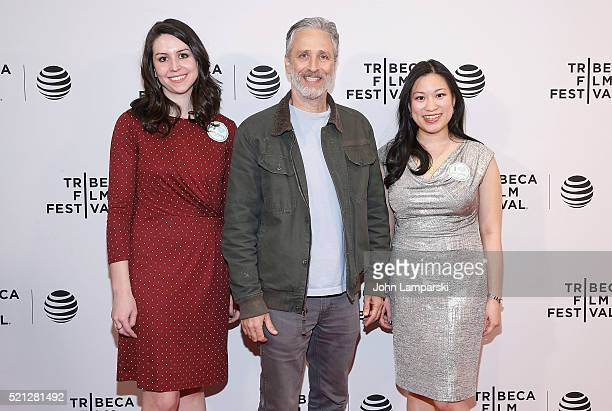 """Ellen Martinez, Jon Stewart and Steph Ching attend """"After Spring"""" premiere during 2016 Tribeca Film Festival at Chelsea Bow Tie Cinemas on April 14,..."""