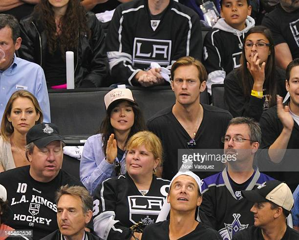Ellen Page and Alexander Skarsgard attend game four of the 2012 Stanley Cup Final between the Los Angeles Kings and the New Jersey Devils at Staples...