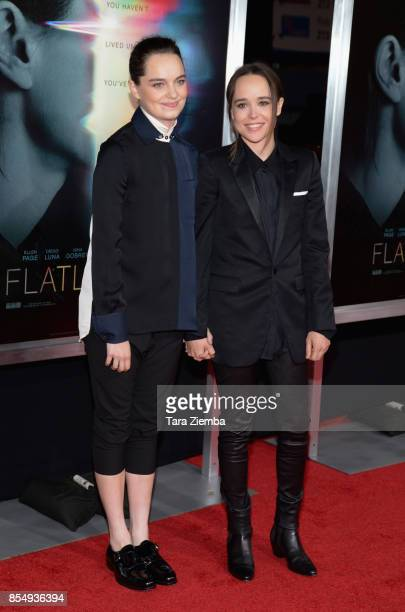 Ellen Page and Emma Portner attend the premiere of Columbia Pictures' 'Flatliners' at The Theatre at Ace Hotel on September 27 2017 in Los Angeles...