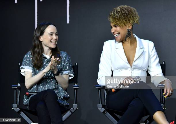 Ellen Page and Emmy RaverLampman speak onstage at Netflix's 'Umbrella Academy' Screening at Raleigh Studios on May 11 2019 in Los Angeles California