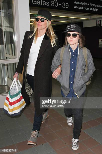 Ellen Page and Samantha Thomas are seen at LAX on September 14 2015 in Los Angeles California