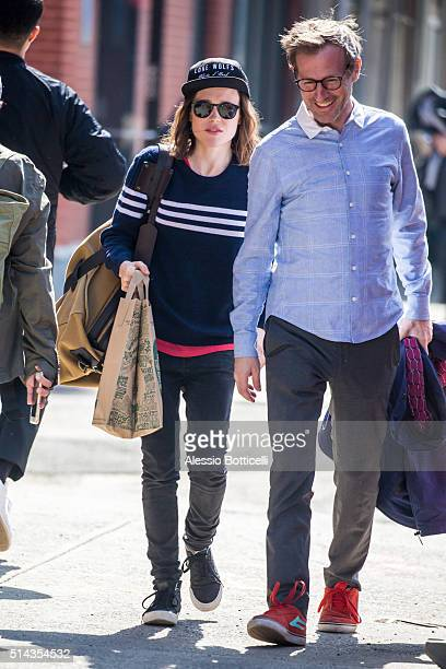 Ellen Page and Spike Jonze is seen in East Village on March 8 2016 in New York City