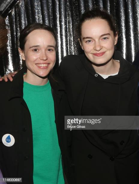 "Ellen Page and wife Emma Portner pose backstage at the musical ""The Prom"" on Broadway at The Longacre Theatre on May 10, 2019 in New York City."