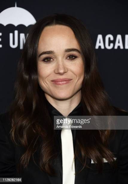 "Ellen Page arrives at the premiere of Netflix's ""The Umbrella Academy"" at the ArcLight Hollywood on February 12, 2019 in Hollywood, California."