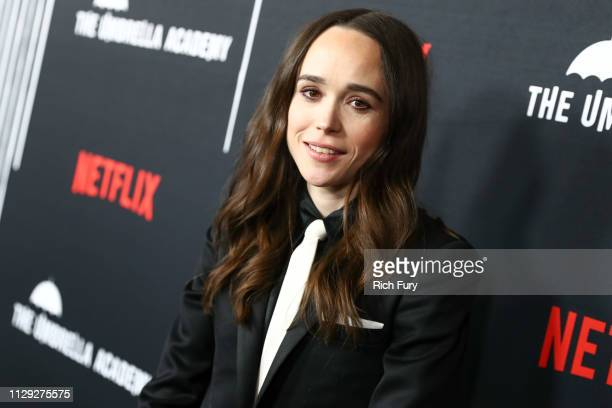 "Ellen Page attends the premiere of Netflix's ""The Umbrella Academy"" at ArcLight Hollywood on February 12, 2019 in Hollywood, California."