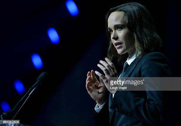 Ellen Page receives the Human Rights Campaign Vanguard Award at the Walter E. Washington Convention Center on October 3, 2015 in Washington, DC.