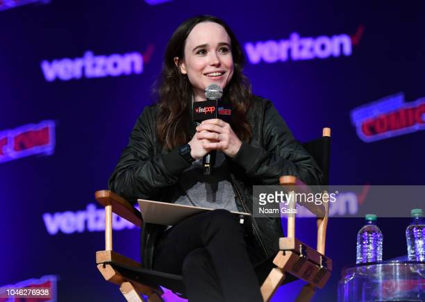 Ellen Page speaks onstage at the Netflix & Chills panel during New York Comic Con 2018 at Jacob K. Javits Convention Center on October 5, 2018 in New...