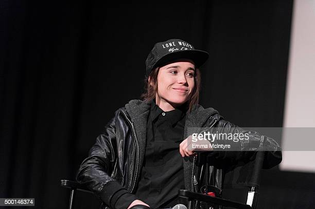 "Ellen Page speaks onstage during a Q&A following the screening of ""Janis: Little Girl Blue"" at ArcLight Cinemas on December 5, 2015 in Hollywood,..."