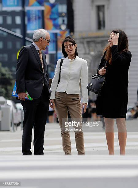 Ellen Pao former junior partner at Kleiner Perkins Caufield Byers center arrives at state court with her lawyers in San Francisco California US on...