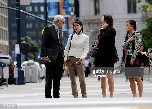 Ellen Pao former junior partner at Kleiner Perkins Caufield Byers second left arrives at state court with her lawyers in San Francisco California US...