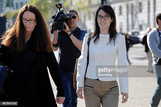 Ellen Pao former junior partner at Kleiner Perkins Caufield Byers right exits state court with her lawyer Therese Lawless in San Francisco California...