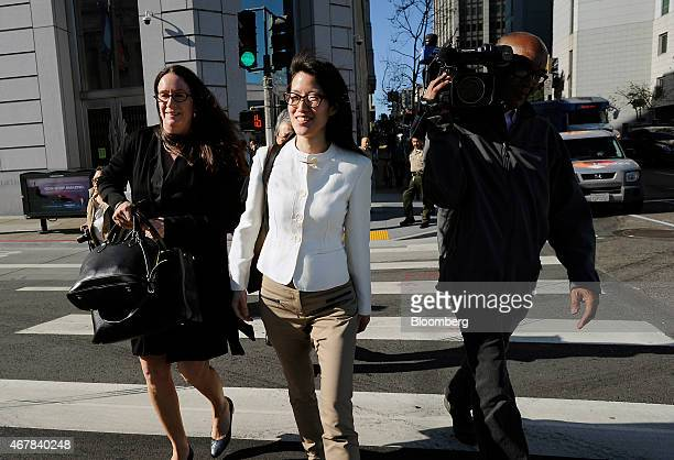 Ellen Pao former junior partner at Kleiner Perkins Caufield Byers center exits state court with her lawyer Therese Lawless right in San Francisco...