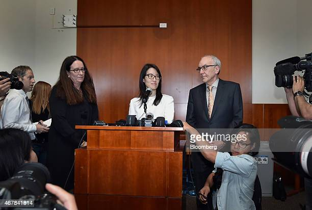Ellen Pao former junior partner at Kleiner Perkins Caufield Byers center speaks to the media at state court in San Francisco California US on Friday...