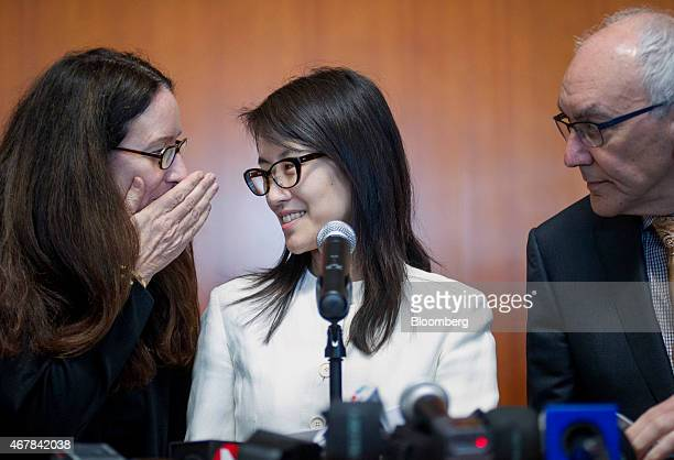 Ellen Pao former junior partner at Kleiner Perkins Caufield Byers center speaks with her lawyers Therese Lawless left and Allan Axelrod while...