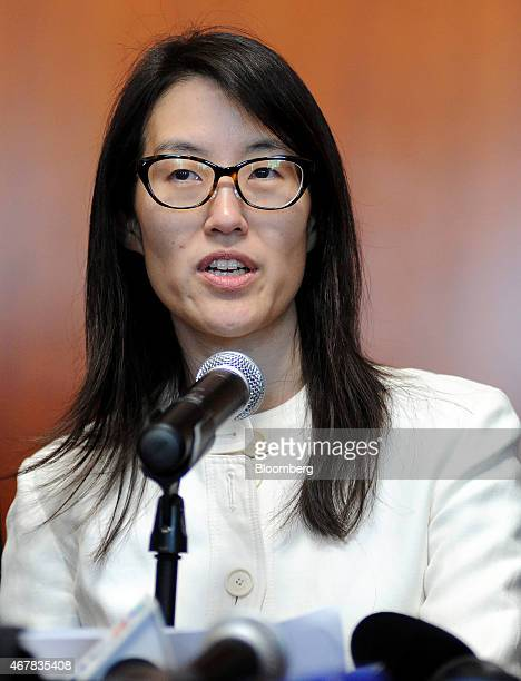Ellen Pao former junior partner at Kleiner Perkins Caufield Byers speaks to the media at state court in San Francisco California US on Friday March...