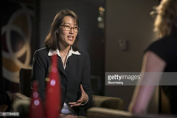 Ellen Pao former venture capitalist at Keiner Perkins Caufield and Byers and former interim chief executive officer of Reddit speaks during a...