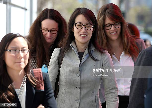 Ellen Pao leaves the San Francisco Superior Court Civic Center Courthouse with her legal team during a lunch break from her trial on March 25 2015 in...