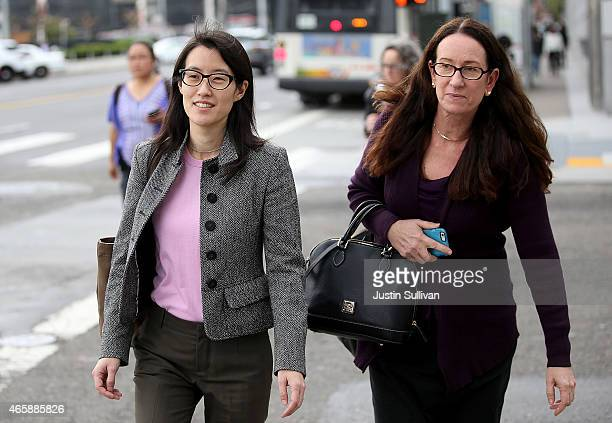 Ellen Pao leaves the Superior Court Civic Center Courthouse with her attorney Therese Lawless during a lunch break from her trial on March 11 2015 in...