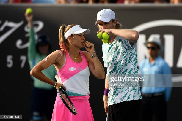 Ellen Perez and Luke Saville of Australia compete in their First Round Mixed Doubles match against Iga Swiatek and Lukasz Kubot of Poland on day six...