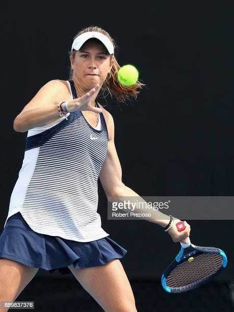 Ellen Perez of Australia competes against Masa Jovanovic and Alexandra Walters of Australia in her first round Australian Open December Showdown...