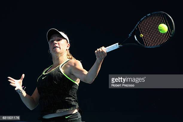 Ellen Perez of Australia competes in her 2017 Australian Open Qualifying match against Tadeja Majeric of Slovakia at Melbourne Park on January 12...