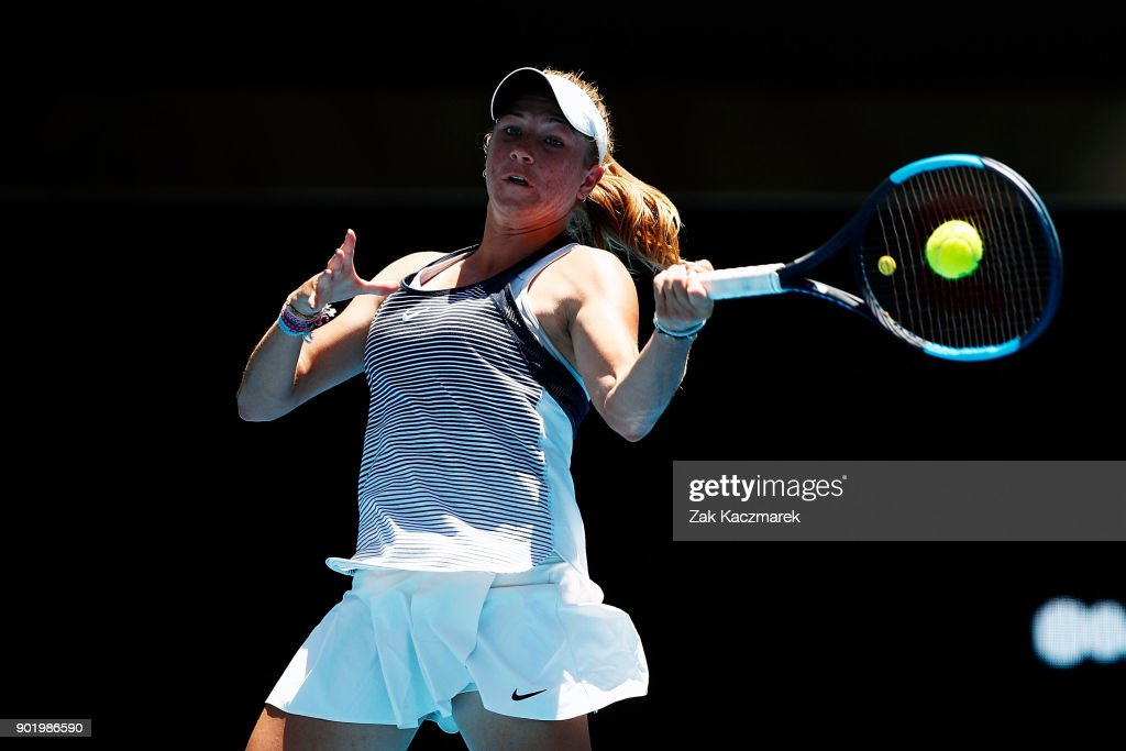 Ellen Perez of Australia plays a forehand in her first round match against Kristina Mladenovic of France during day one of the 2018 Sydney International at Sydney Olympic Park Tennis Centre on January 7, 2018 in Sydney, Australia.