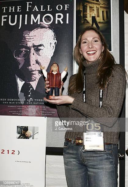 "Ellen Perry, director/producer of ""Fall of Fujimori"" with Alberto Fujimori Doll"