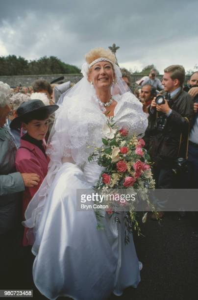 Ellen Petrie and guests on her wedding day Essex UK 9th March 1988
